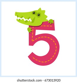 Cartoon illustration numbers with animals: number five with a crocodile