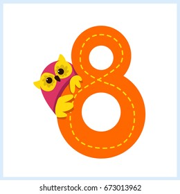 Cartoon illustration numbers with animals: number eight with a owl
