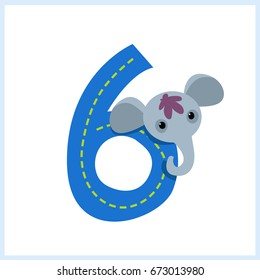 Cartoon illustration numbers with animals: number six with a elephant