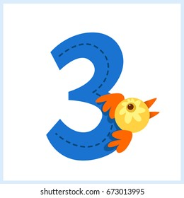 Cartoon illustration numbers with animals: number three with a bird