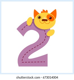 Cartoon illustration numbers with animals: number two with a cat