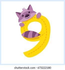 Cartoon illustration numbers with animals: number nine