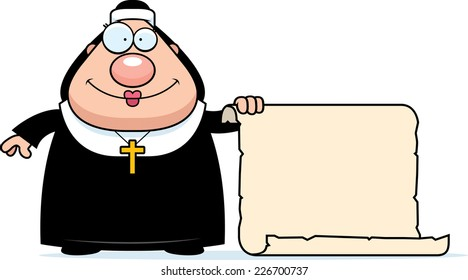 A cartoon illustration of a nun with a sign.
