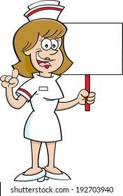 Cartoon illustration of a nurse holding a sign.