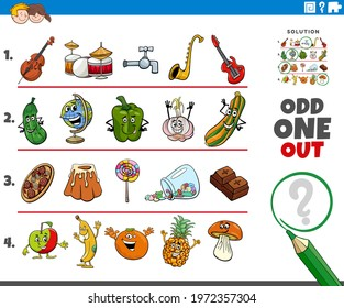 Cartoon illustration of odd one out picture in a row educational task for elementary age or preschool children with comic characters