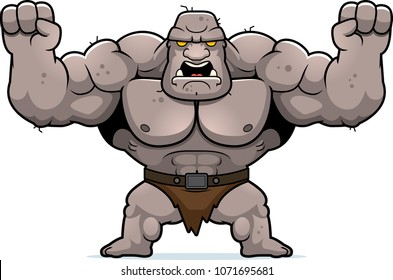 A cartoon illustration of an ogre looking angry.