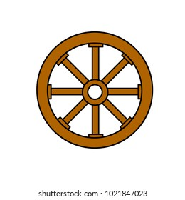 cartoon illustration - old cracked wooden detail of the wheel. item the cart. the rural environment.