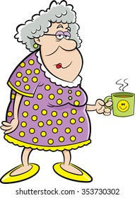 Cartoon illustration of an old lady holding a coffee mug.