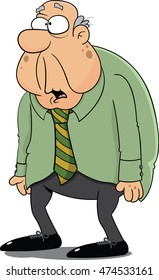 Cartoon illustration of an old man with a confused expression.