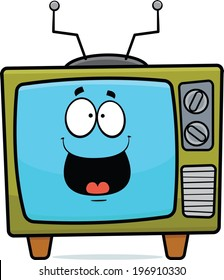 Cartoon illustration of an old TV set with a happy expression.
