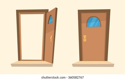 Cartoon illustration of the open and closed door.