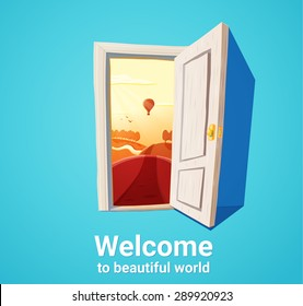 Cartoon illustration of open door and sunset fantasy nature. Freedom concept.