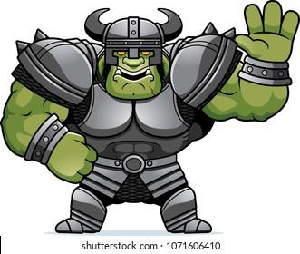 A cartoon illustration of an Orc warrior waving.