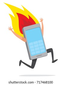 Cartoon illustration of overheating mobile phone runnning desperately on fire