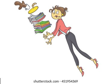 Cartoon illustration of overworked business woman, secretary or trainee stumbling and dropping office stuff and coffee.