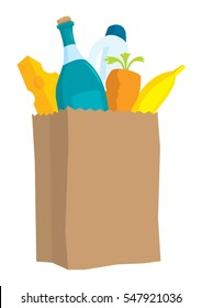 Cartoon illustration of paper bag with groceries and products