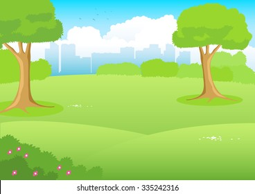 Cartoon illustration of a park with cityscape as the background