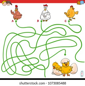 Cartoon Illustration of Paths or Maze Puzzle Activity Game with Hens and Chickens Farm Animal Characters