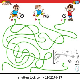 Cartoon Illustration of Paths or Maze Puzzle Activity Game with Kid Boys and Soccer