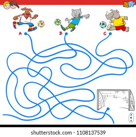 Cartoon Illustration of Paths or Maze Puzzle Activity Game with Soccer Animals