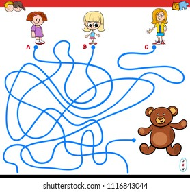 Cartoon Illustration of Paths or Maze Puzzle Activity Game with Little Girls and Teddy Bear Toy