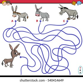 Cartoon Illustration of Paths or Maze Puzzle Activity Game with Donkey Farm Animal Characters
