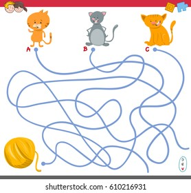 Cartoon Illustration of Paths or Maze Puzzle Activity Game with Kitten Characters and Wool Ball