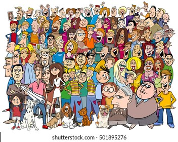 Cartoon Illustration of People Group in the Crowd