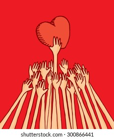 Cartoon illustration of people struggling for love reaching a heart