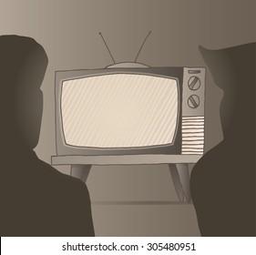Cartoon illustration of people watching sepia vintage tv set