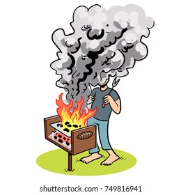 Cartoon illustration of a person getting covered in smoke from a park BBQ