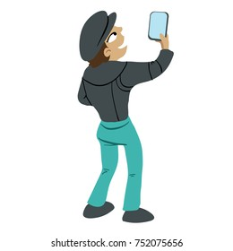 cartoon illustration of a person holding up a cell phone and shooting a picture or taking a selfie.