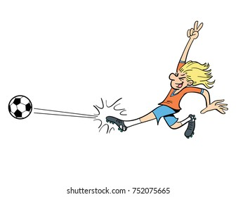 cartoon illustration of a person kicking a soccer ball