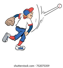 cartoon illustration of a person playing baseball and pitching a baseball
