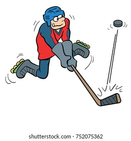 cartoon illustration of a person playing hockey and hitting a hockey puck