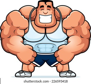 A cartoon illustration of a personal trainer flexing.