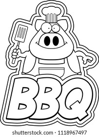 A cartoon illustration of a pig chef with bbq text.