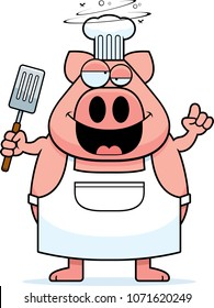 A cartoon illustration of a pig chef looking drunk on beer.