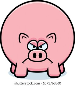 A cartoon illustration of a pig looking angry.