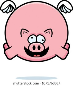 A cartoon illustration of a pig looking crazy.