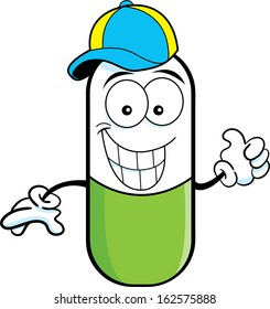 Cartoon illustration of a pill capsule giving thumbs up and wearing a baseball cap.
