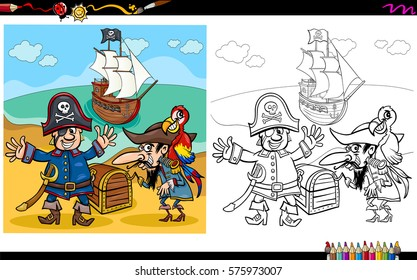 Cartoon Illustration of Pirates on Treasure Island Coloring Book Activity