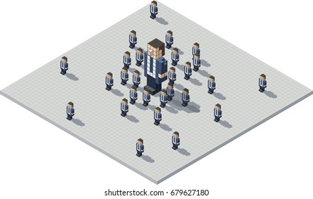 A cartoon illustration of a pixel business boss surrounded by a bunch of cloned minions