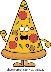 Cartoon illustration of a pizza slice with a happy expression.