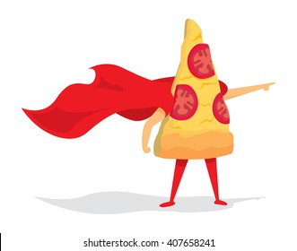Cartoon illustration of pizza super hero saving the day