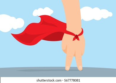 Cartoon illustration of playful hand super hero with cape