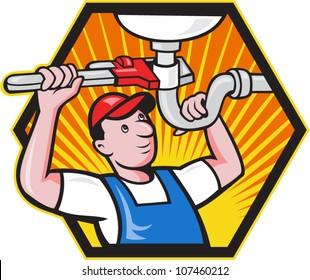 Cartoon illustration of a plumber worker repairman tradesman with adjustable monkey wrench repairing bathroom sink set inside hexagon.