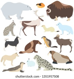 Cartoon illustration of polar animals isolated on white background, such as polar bear, arctic fox, lemming, caribou, seal, walrus etc.