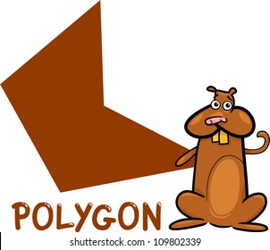 Cartoon Illustration of Polygon Basic Geometric Shape with Funny Hamster Character for Children Education