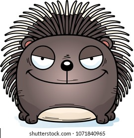 A cartoon illustration of a porcupine with a sly expression.